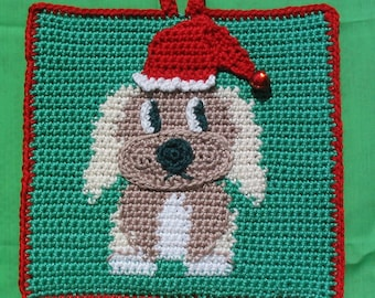 Christmas puppy potholder pattern - INSTANT DOWNLOAD