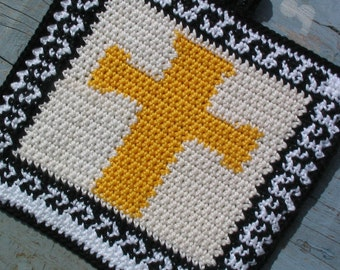 Easter cross with greek key pattern potholder - INSTANT DOWNLOAD