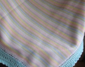 Pink/Blue/Green/Yellow/White Striped Fleece Baby Blanket