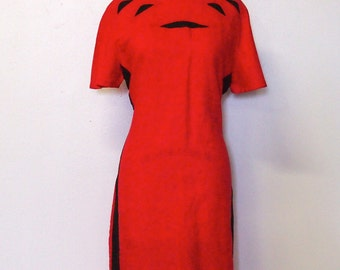 1980's Vintage Jennifer Eden Red and Black Shift Dress