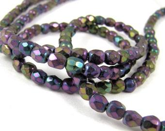 Purple Iris 4mm Facet Round Czech Glass Fire Polished Beads 50pc #1207