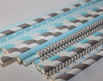 Light blue  and grey gray baby boy birthday party Shower 24 Paper striped chevron polka dotted stripes paper straws