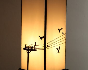 White Glass 'Bird on a Wire' Lamp