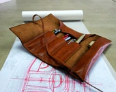 041---For Robin---Hand Stitched  Leather Pencil Case, Leather Travel Case