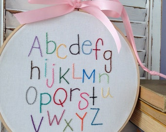 alphabet hand embroidery . hand drawn letters . nursery decor  . baby shower . keepsake wall hanging . learning tool . 8 inches . 35 dollars
