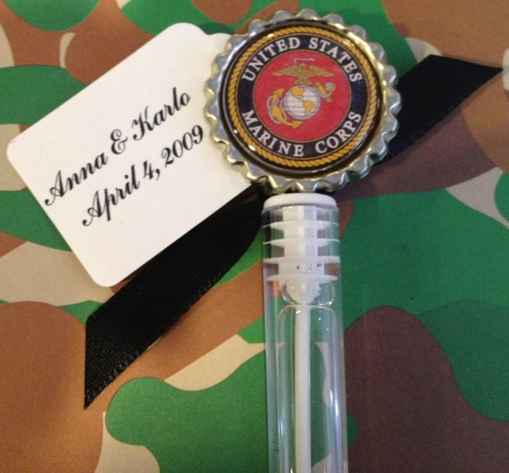 10 US Marines Bubble Favors Marines Wedding By TotalBlissBoutique