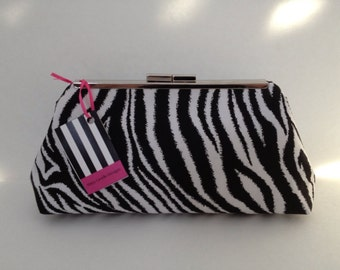 Black and White Zebra Print Clutch Purse with Nickel/Silver Finish Snap Close Frame