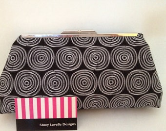 Black with White Circle Print on Cotton Clutch with Nickel/Silver Finish Snap Close Frame