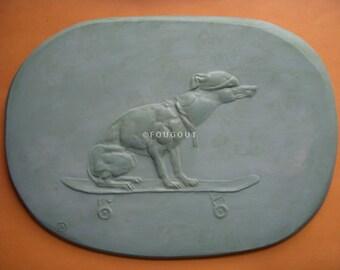 CANINE relief plaque SKATEBOARD DOG