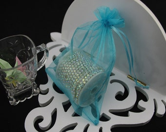 100  2.75''x3.54'' Turqoise Organza Jewelry Gift Pouch Bags Great For Wedding favors, sachets, beads, jewelry, and more