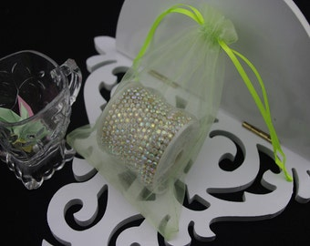 100  3.54''x4.72''  Light Green Organza Jewelry Gift Pouch Bags Great For Wedding favors, sachets, beads, jewelry, and more