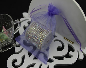 100  3.54''x4.72''  Lihgt  Purple Organza Jewelry Gift Pouch Bags Great For Wedding favors, sachets, beads, jewelry, and more