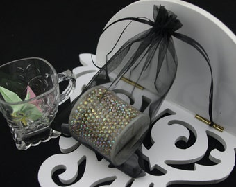 100  3.54''x4.72'' Black Organza Jewelry Gift Pouch Bags Great For Wedding favors, sachets, beads, jewelry, and more