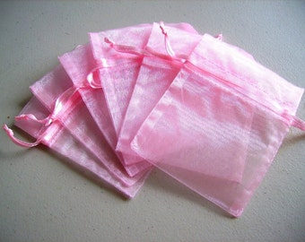 50  5''x7'' Pink Organza Jewelry Gift Pouch Bags Great For Wedding favors, sachets, beads, jewelry, and more