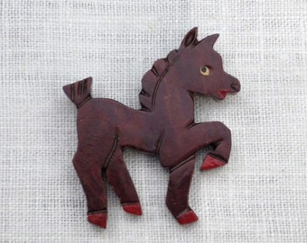 Vintage Wood Pin Prancing Pony Pin Horse Pin 1930s 1940s