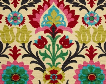 SHIPS SAME DAY Waverly Santa Maria Desert Flower Home Decor Damask Fabric Drapery in Pink, Turquoise, Red, Black - by the yard