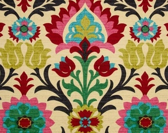 Waverly Santa Maria Desert Flower Home Decor Damask Fabric Drapery in Pink, Turquoise, Red, Black - by the yard