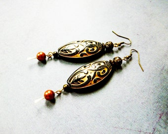 Swarovski Pearl, Large Black and Gold Bead, Boho Earrings, Gypsy Jewelry, Bohemian Style