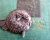 Vintage bronze Puffer Fish - miniature fish - cast bronze - Authentic Fish Replica - fish collectible - nature - sea life - miniature