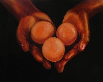 Giving hands. Original oil painting.11 x 14 inch.