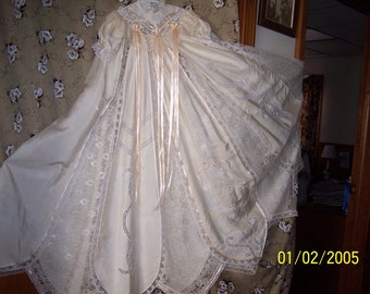Antique Christening gown in a natural silk fabric