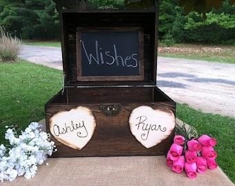 Wedding Card Box, Rustic Wooden Wedding Box, Rustic Wedding, Well Wishes Box, Card Box,Rustic Card Box, Personalized Card Box, Keepsake Box