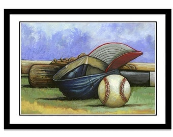 Baseball and Hat Pastel Illustration