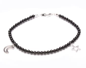 Black Onyx and Tibetan Silver Star and Moon Anklet