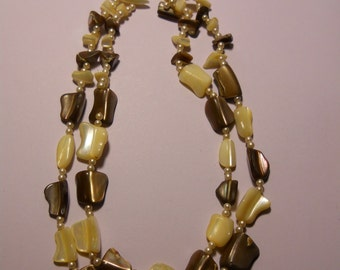 Vintage Double Stranded Mother of Pearl Necklace