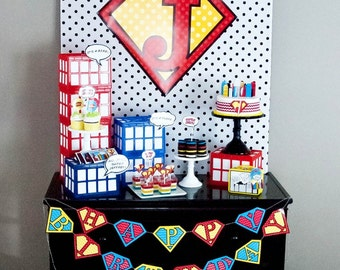 Super Hero Comic Super Emblem City Scene Superhero Super Man Birthday Party - Printable Customized Package