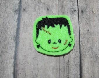 Frankenstein felties - Halloween - Machine embroidered - felt applique - felt embellishments - scrapbook embellishment