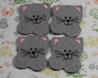 Gray Kitty Cat felties, felt paper clip, badge reel, felt brooch, felt bookmark, planner clip, felt hair clip, key chain, feltie supplies