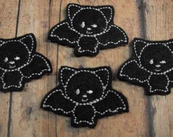 Bat felties - Halloween - Machine embroidered - felt applique - felt embellishments - scrapbook