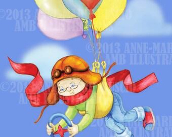 I dream of flying,  kids art illustration, digital clip art, wall art images, instant download, AMB-643