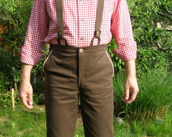 Oktoberfest plain cotton brown Lederhosen