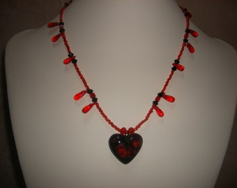 Red and Black Heart Necklace