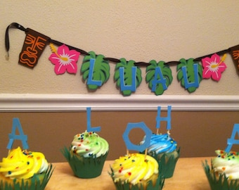 Luau Decorations. Banner, cupcake toppers and cupcake wrappers!