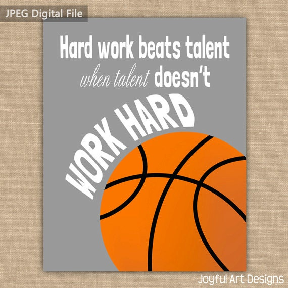 Motivating Basketball Quote PRINTABLE Signs. Sports Decor.
