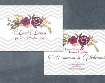 Wedding printable invitation - grey and purple