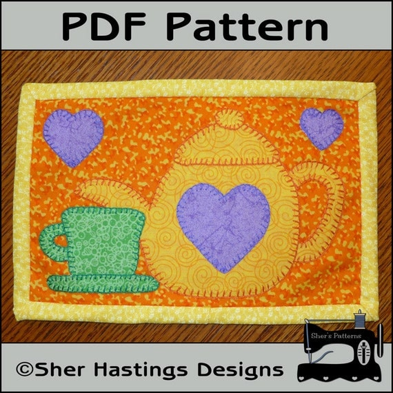 PDF Pattern for Tea Time Mug Rug Teapot Mug Rug Pattern Tea : quilted mug rugs free patterns - Adamdwight.com