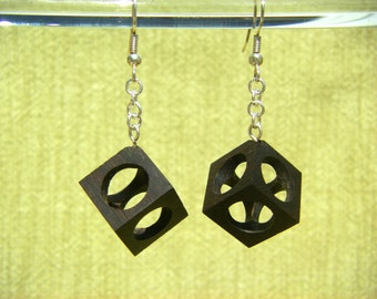 Hollow Cube Katalox Wood Earrings