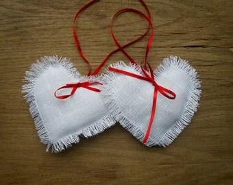 Valentines Day Decor Wedding Decor Wedding Favors Heart Decor Valentine Favor Valentine Heart Hanging Heart Rustic Decor Linen Heart