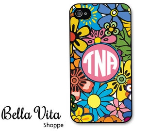 iPhone 4 Case - Colorful Flowers Monogrammed iPhone 4/4s Case, iPhone 4 Protective Case, Cases for iPhone 4, Rubber iPhone Case I4C