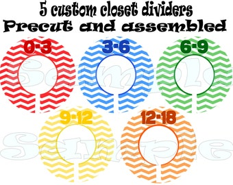 Precut Closet Dividers Set of 5 Assembled Baby Boy closet organizers Clothes Dividers Size Dividers Hangers Rod dividers Baby boy nuyrsery