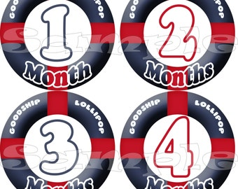 Month Baby stickers set Monthly Stickers Baby Milestone Stickers Nautical Baby Shower Gift Sailor Baby Boy Stickers Infant month stickers