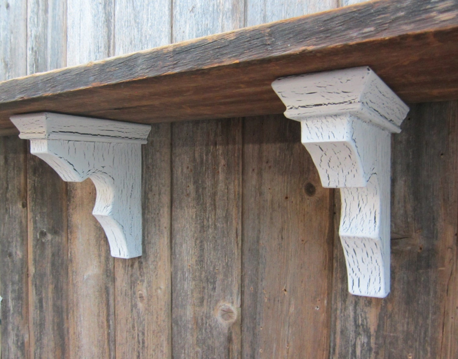Wood corbel pair shelf bracket architectural reclaimed for Architectural corbels and brackets