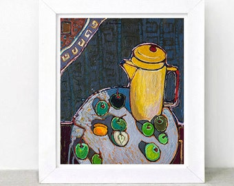 Still Life with apples (Original painting) oil painting, free shipping