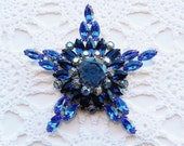 Vintage Rhinestone Brooch GIGANTIC Star Shades of Blue and Aurora Borealis Resale Bridal Wedding