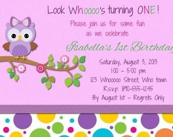 Sweet Owl Birthday Girl Invitation