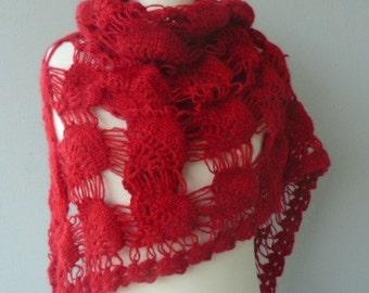 RED Bridal Shawl Red Knit Shawl Handmade RED Shawl Crochet Shawl in Red mohair